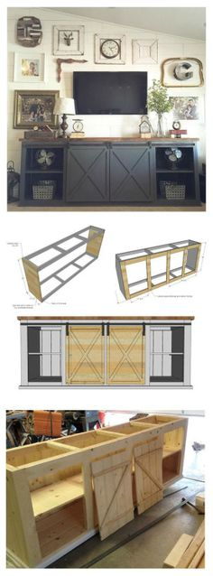 Easy DIY Project and Furniture Plans Sliding door console plans gray gallery wall rustic modern farmhouse style diy barn door track living room design ideas