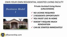 This video is 1 of 4 where I explain the 4 Business Models available for Housing Residential Assisted Living. In this training we will discuss the Business Model 1 Private Assisted Living Home (Unlicensed) Assisted Living Homes, Assisted Living Facility, Aging Parents, Business Planning, University, Mansions, Live, House Styles, Watch Video