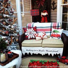 Walking in a winter wonderland. ❄ See more of Linda's wonderful porch in today's post.  #christmasdecorations #porches