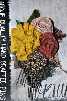 yellow brown pink velvet wool tweed corsage brooch retro scarf shawl pin 10 cm m