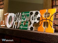 Custom Wooden Names and Letters LuvLetterCreations by Shana Sports Theme Wooden Letters for the Nursery or Child's Room