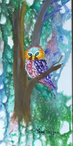 Owl in the Woods by janis tafoya, Oil, 20' x 10 x 3/4 Impressionist, Oil On Canvas, Cool Pictures, Cute Animals, Owl, Woods, Artwork, Painting, Pretty Animals