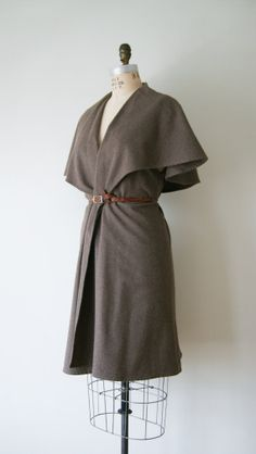 Vintage Wool Cape Shawl Cardigan Sweater. Taupe Brown Blanket Wrap. Women's Long Cape Coat.