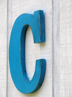 baby room rustic wooden letter c distressed painted island blue12 tall wood numbers custom wedding gift