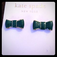 Teal and gold ♠️kate spade ♠️ bow earrings Super cute teal and gold bow earrings by kate spade.  These earrings are NWT and will come in a signature jewelry pouch. kate spade Jewelry Earrings