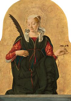 'Saint Lucy' by Italian Renaissance painter Francesco del Cossa Tempera on poplar panel, x 22 in. collection: National Gallery of Art, Washington DC. post: I'm Obsessed with Saint Lucy's Extra Set of Eyes in This Renaissance Painting. via Artsy Renaissance Artists, Renaissance Paintings, Italian Renaissance Art, Santa Lucia, Giorgio Vasari, National Gallery Of Art, Art Gallery, Galleries In London, Italian Art