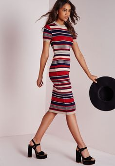 Striped Lurex Knitted Dress Navy - Knitted - Dress - Missguided