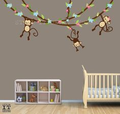 Hanging Monkey Wall Decal Vines Nursery Decals