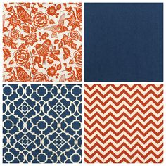color palettes orange indigo | top left duralee aviary tangerine fabric