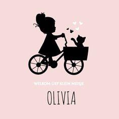 Hip meisjes silhouette geboortekaartje. Met meisje op bakfiets, poesje en vlinders.