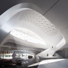 Zaha Hadid designs dune-inspired headquarters for environmental firm.