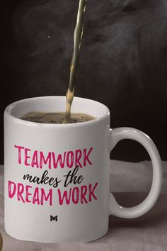 "This inspirational ""Teamwork Makes The Dreamwork"" coffee mug is especially designed for women!  It makes a great Christmas gift for coworkers and office mates, and it's the perfect birthday present for the people who work for you.   Morning coffee and evening tea never tasted so good as when you drink it from one of these ""Teamwork Makes The Dream Work"" motivational coffee mugs. Christmas Gifts For Coworkers, Great Christmas Gifts, Team Building Events, Inspirational Quotes Pictures, Domestic Violence, Birthday Presents, Teamwork, Morning Coffee, Picture Quotes"