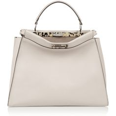 Fendi Peekaboo large leather tote ($4,700) ❤ liked on Polyvore featuring bags, handbags, tote bags, brown, brown purse, brown leather tote bag, pink handbags and brown tote