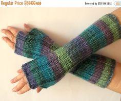 Items similar to Fingerless Gloves Wrist Warmers Mittens Green Blue Salad Turquoise Purple Knit on Etsy Fingerless Gloves Knitted, Knit Mittens, Wrist Warmers, Hand Warmers, Turquoise And Purple, Blue, Wool Wash, Crochet Pattern, Salad