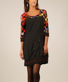 Love this Black & Red Geometric Scoop Neck Top on #zulily! #zulilyfinds