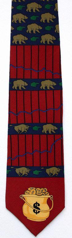 Bear Market Mens Necktie Stock Broker Money Banker Vicky Davis Silk Neck Tie #VickyDavis #NeckTie