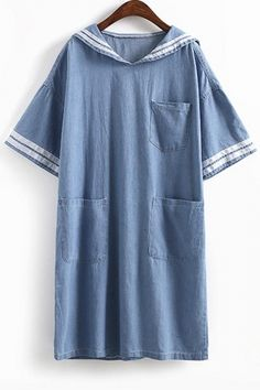 Loose Fit Contrast Trim Pockets Midi Denim Dress