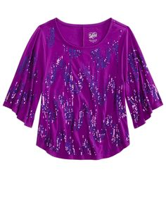 Iridescent Sequin Circle Top | Long Sleeve | Tops & Tees | Shop Justice