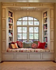 cozy window seat for reading! maybe in our bedroom