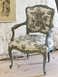 Rococo chair painted in Aubusson and gilded against a wall painted in Old White sf s floor washed in Old White. From Colour Recipes, published by Cico Books, photogrpah by Christopher Drake.