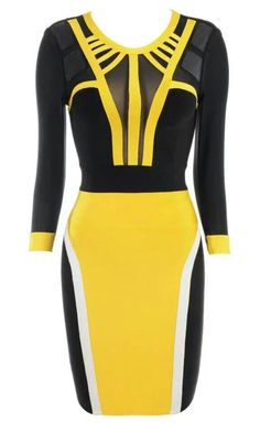 Adyce 2017 New Fashion Women Summer Party Dresses Yellow&Black Long Sleeve O Neck Mesh Patchwork Bodycon Bandage Dress Vestidos Long Sleeve Bandage Dress, Black Long Sleeve Dress, Bodycon Dress, Bandage Dresses, Dress Long, Pencil Dresses, Sleeve Dresses, Celebrity Gowns, Mellow Yellow