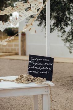 replace your name with a photo wedding escort card station