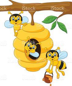 Rama de un árbol de dibujos animados con un Colmena y una abeja illustracion libre de derechos libre de derechos