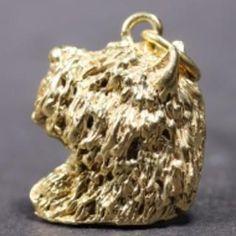 Bouvier des Flandres gold-plated PENDANT head 3D cropped