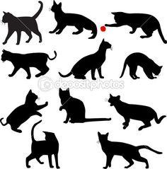 Silhuetas de gatos — Ilustração de Stock #2574836