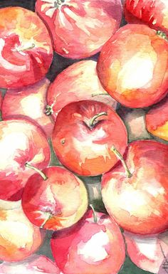 Watercolor painting of red apples, Red Delicious artwork, kitchen decor, gift for her, nature fine art, naturelover gift, apples wall art