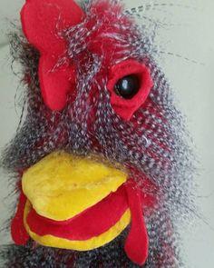 Wacky chicken hand puppet by PaisleysPuppets on Etsy Velour Fabric, Hand Puppets, Chicken, Friends, Handmade, Etsy, Amigos, Hand Made, Boyfriends