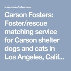 Carson Fosters: Foster/rescue matching service for Carson shelter dogs and cats in Los Angeles, California.   Carson Fosters finds foster homes for dogs and cats incarcerated in Carson Animal Care Center, aka Carson Shelter,  in Gardena, CA. 90248