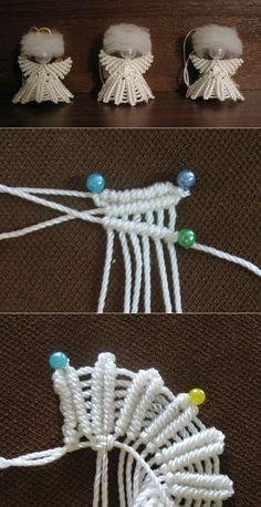 step by step Macramé Angel with beads - Ideas Macrame Owl, Macrame Knots, Macrame Jewelry, Micro Macramé, Macrame Patterns, Crochet Patterns, Christmas Angels, Christmas Crafts, Beaded Angels