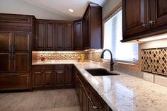 Glass tile backsplash, undermount sink, cambria countertop Cambria Countertops, Cambria Quartz, Glass Tile Backsplash, Undermount Sink, Contemporary Style, Kitchen Remodel, Home Improvement, Kitchen Cabinets, Iron
