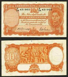 1942 Australia 10 Shillings Banknote Pick Number 25b King George VI Nice About Very Fine Currency