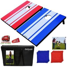 2 Boards Classic Cornhole Game Set Free 8 Bean Bags Carry Case Fun Party Outdoor #GoSports
