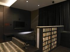 Bookshelf as a bed headboard