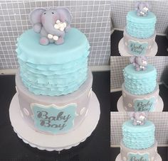 Beautiful elephant themed baby shower cake. Can be customized with different colours for any gender. Bottom tier extra High for additional servings