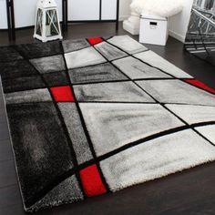 Tappeto Design Moderno A Quadri Lavorato A Mano Con Bordo Grigio Rosso, Dimension:120x170 cm: Amazon.it: Casa e cucina
