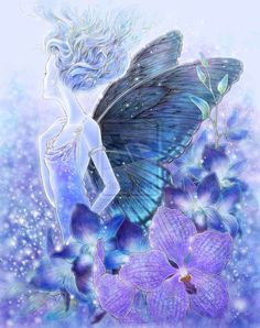 """""""Shades of Blue"""" (Blue Orchids) -- line art in ballpoint pen on paper, scanned image colored in Corel Painter on Intuos 3 I'm gifting this to who reques. Shades of Blue Blue Drawings, Art Drawings, Drawing Art, Fantasy Kunst, Fantasy Art, Fantasy Fairies, Color Lavanda, Corel Painter, Blue Fairy"""
