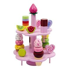 Présentoir de friandises en bois - Jeu de dinette - marchande - 27 pièces colorées ! - Ce présentoir décoratif propose de ravissants bonbons et glaces