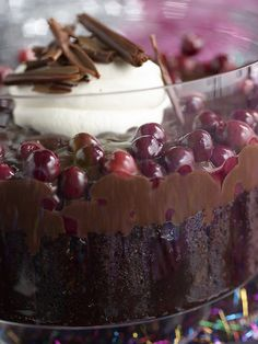 Nigella Lawson's Chocolate Cherry Trifle - easy to assemble with the bought ingredients, e.g. chocolate loaf cake, ready made custard, but tastes delicious and makes you look like a domestic goddess
