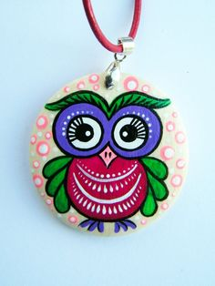 One Happy Owl Pendant, valentine's day gift, wood, unique pendant, charm, personalized gift, cute pendant, pink, violet