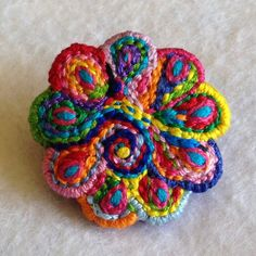 Freeform embroidery scalloped circle brooch bright by Lucismiles, $22.00