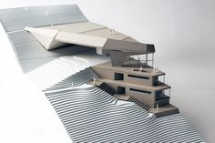 Ski Bridge and Hostel.1:200 laser cut chipboard model. #harvard #gsd #architecturemodel #switzerland #apresski