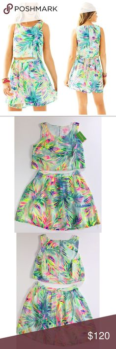 """Lilly Pulitzer Hilah Skirt & Crop Top Set NWT Lilly Pulitzer printed """"Hilah"""" crop top and skirt set. Printed mesh jacquard polyester. Top is loose and has a keyhole back. So cute for summer or vacations! Never worn, please note that only the top has a tag. Size 2. Bundle 2 or more items to save 20%! Lilly Pulitzer Dresses"""