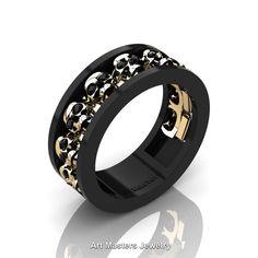 Mens Modern Black and Yellow Gold Black Diamond Skull Channel Cluster Wedding Ring Art Masters Jewelry Skull Wedding Ring, Skull Engagement Ring, Wedding Jewelry, Wedding Rings, Wedding Band, Gold Wedding, Edgy Wedding, Platinum Wedding, Diamond Skull