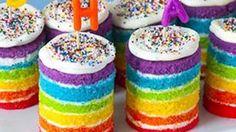 how to make mini rainbow cakes