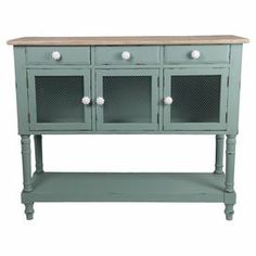 "3-drawer and 3-door console table with a distressed finish.   Product: Console tableConstruction Material: WoodColor: Pale blueFeatures:  Three drawersThree doorsDimensions: 39"" H x 47.5"" W x 16"" D"