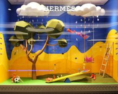 "HERMES, Mall of the Emirates, Dubai, United Arab Emirates, ""When Fashion Comes To Play"", words/creative by Flying Elephant Events, pinned by Ton van der Veer Window Display Design, Shop Window Displays, Store Displays, Shop Interior Design, Retail Design, Store Design, Retail Windows, Store Windows, Kids Cafe"